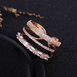 Rose Gold Diamond Triple Stackable Adjustable Ring